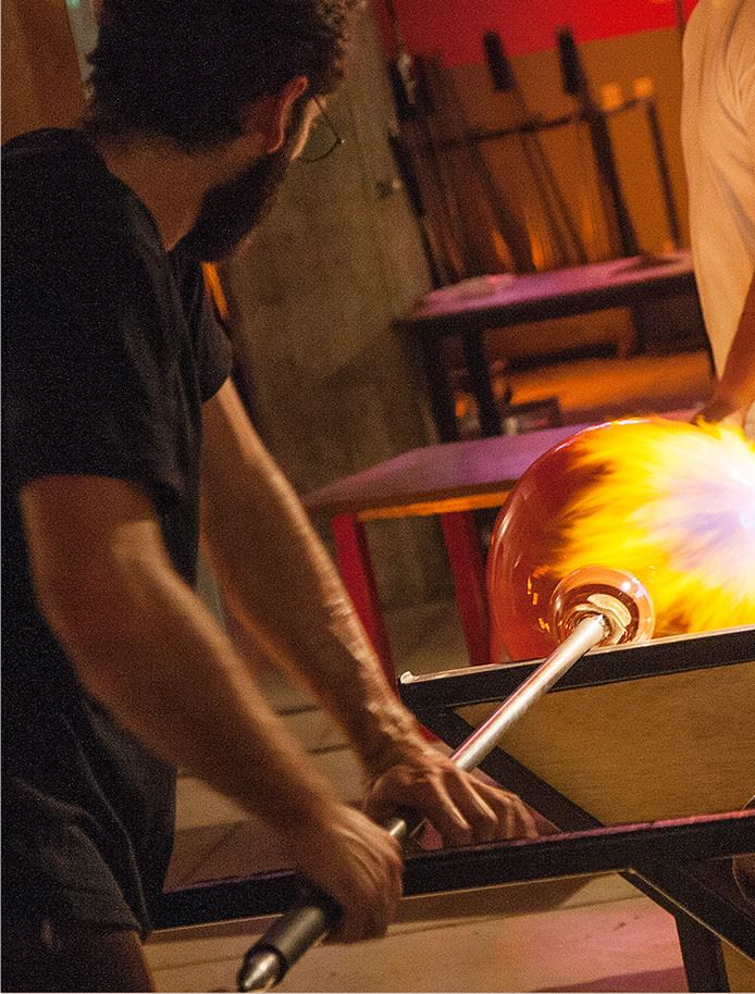Man making glass